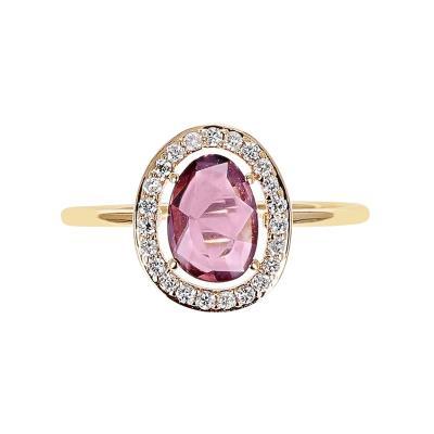 TOURMALINE ROSE CUT RING WITH DIAMOND HALO SETTING 18K YELLOW GOLD