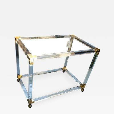TRES CHIC 1970S LUCITE BRASS ROLLING TABLE BAR CART