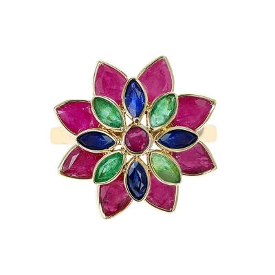 TRI COLOR RUBY EMERALD SAPPHIRE FLORAL RING 18K YELLOW GOLD