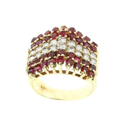 TRIANGULAR RUBY AND DIAMOND 14K YELLOW GOLD RING