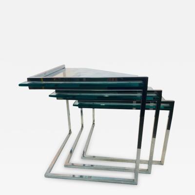 TRIO OF MODERN CHROME AND GLASS NESTING TABLES