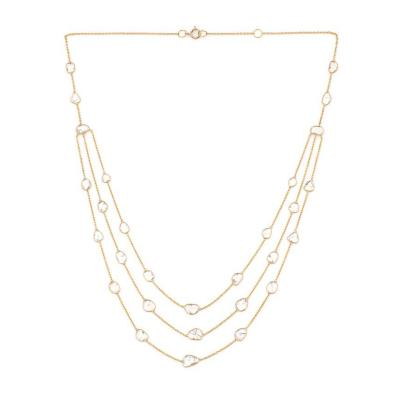 TRIPLE LAYER DIAMOND SLICES NECKLACE 18K YELLOW GOLD