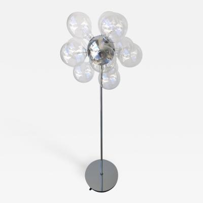 TSAO Designs Mid Century Modern TSAO Designs Chromed Steel Ten Globe Sputnik Floor Lamp