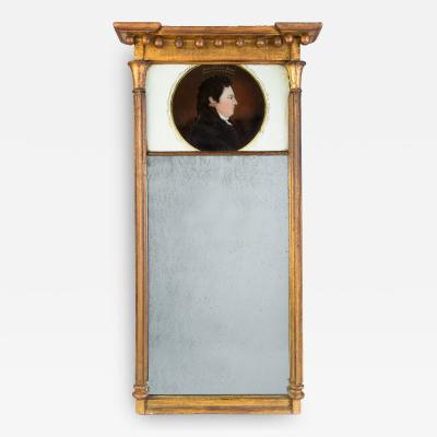 Tabernacle Looking Glass with Eglomise Portrait of DeWitt Clinton 1769 1828