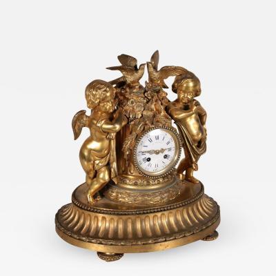 Table Clock E Mignot Gilded Bronze Paris France Third Quarter 1800