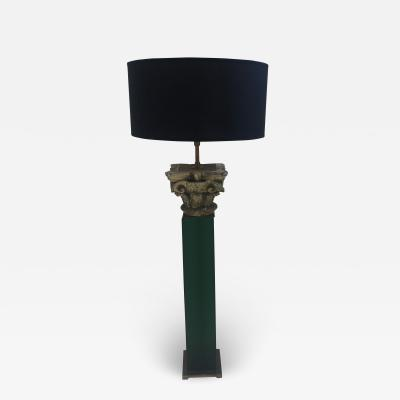 Table Lamp 19th Century Carved Wood Capital Mounted on Green Lucite