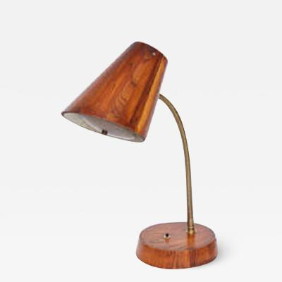 Table Lamp Articulated Mid Century Modern wood and brass 1940s
