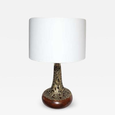 Table Lamp Brutalist Mid Century Modern Sculptural brass and wood 1960s