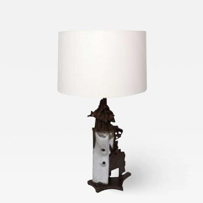 Table Lamp Brutalist Mid Century Modern iron 1960s