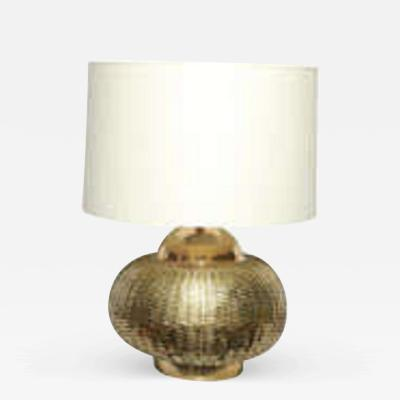 Table Lamp Mid Century Modern brass basket weave 1950s