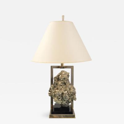 Table Lamp featuring Large Pyrite Cluster France 1970s