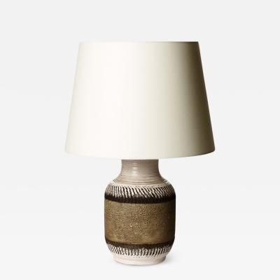 Table Lamp with Textured Band in Neutral Tones by K ramos