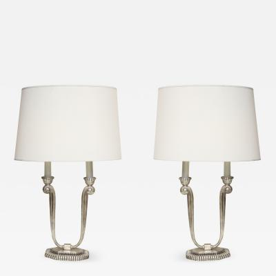 Table Lamps Art Deco Silver Plated France 1920s