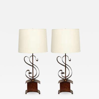 Table Lamps Pair Art Moderne iron and wood 1940s
