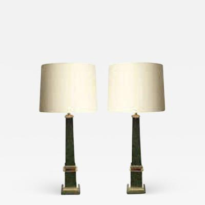 Table Lamps Pair Classical Modern Obelisks polished and painted brass 1940s