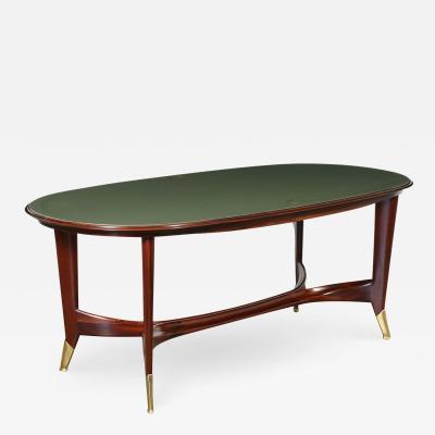 Table Mahogany Brass Back Treated Glass Italy 1950s
