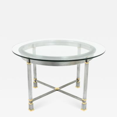 Table in brushed and gilt metal glass tray 1970s