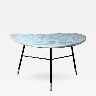 Table with Blue Green Ceramic Boomerang Shaped Top on 3 Black Metal Legs