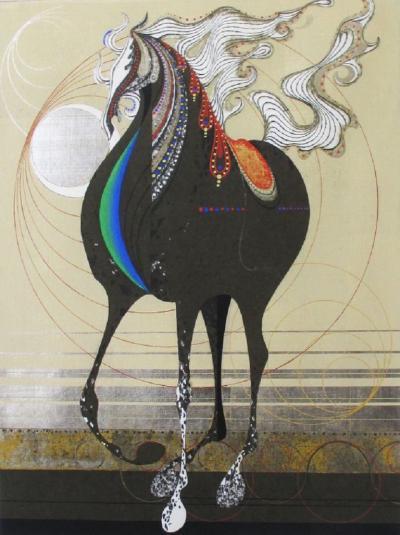 Tadashi Nakayama Nakayama Tadashi Woodblock Print of Horse Titled Cyclone