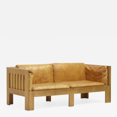 Tage Poulsen Oak and Leather Sofa by Tage Poulsen