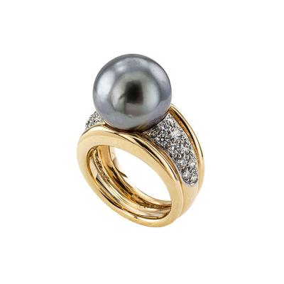Tahitian Cultured Pearl and Diamond Cocktail Ring