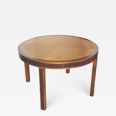 Tailored Swedish Art Deco Round Four Legged Side or Tea Table in Birch