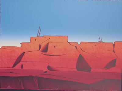 Talavie Hopi Desert Landscape Village Scene Blues Reds Early Morning