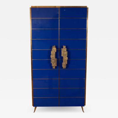 Tall 2 Door Cobalt Blue Glass with Brass Inlays Cabinet or Dry Bar Spain 2019