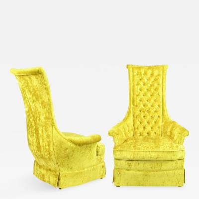 Tall Back Sinuous Lounge Chairs in Gold Crushed Velvet Circa 1960s