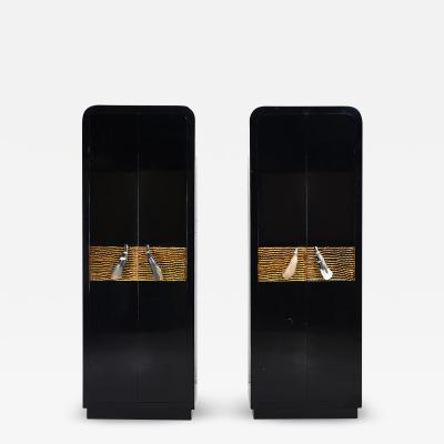 Tall Black Lacquer Cabinets with Horn Handles by Alessandro for Baker