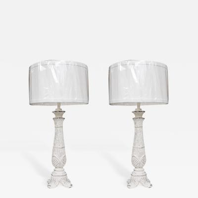 Tall Composition Lamps with White Wash