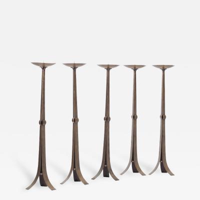Tall Hammered Brutalist Brass Candelabra