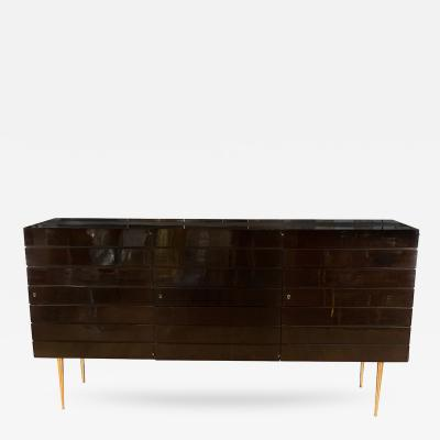 Tall Lacquered Wood Sideboard with Linear Design