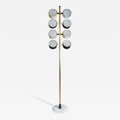 Tall Midcentury Marble Brass Metal and Plexiglass Six Lights Floor Lamp