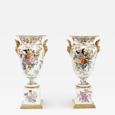 Tall Pair English Porcelain Decorative Pieces Vases