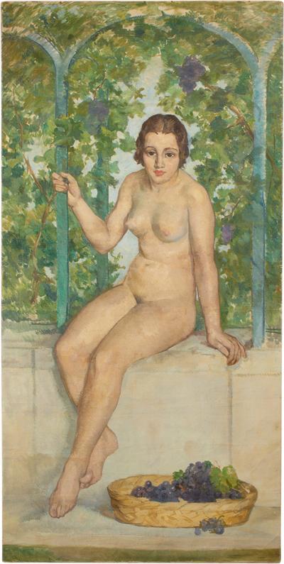Tall Pedro Pruna Nude Oil Painting 1928