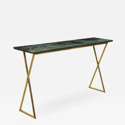 Tall console table with green marble top