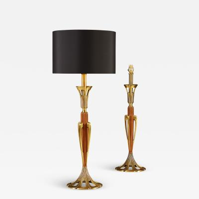 Tall pair of American wood and brass table lamps
