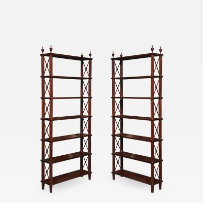 Tall pair of solid mahogany Directoire style bookcases or etageres
