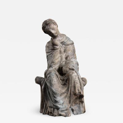Tanagra Terracotta Figurine After the Antique 19th century Figurative Sculpture