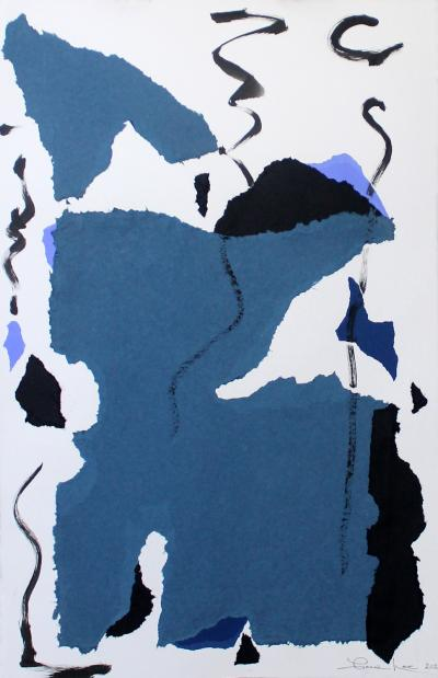 Tango 2020 Framed Blue White and Black Mixed Media Collage By Diane Love