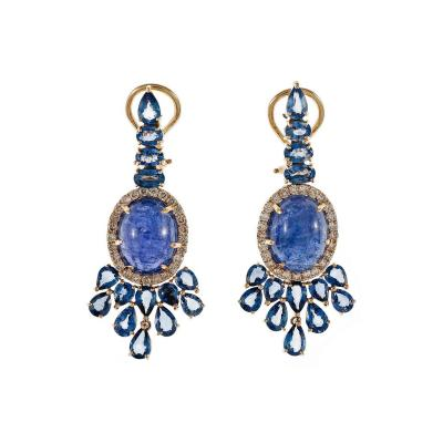 Tanzanite Sapphire Diamond Dangle Rose Gold Earrings