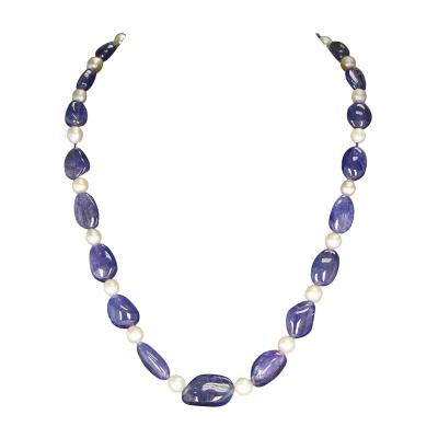 Tanzanite Tumbled Beads and Pearl Necklace 14 Karat Yellow Gold Clasp