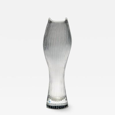 Tapio Wirkkala Clear art glass with engraved decoration in form of stripes
