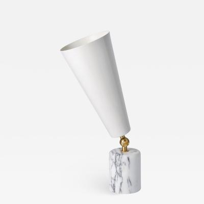 Tato Italia Vox Table Lamp in White Carrara Marble Satin Brass and White