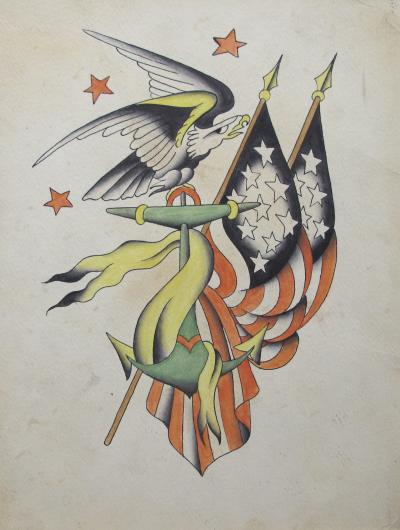 Tattoo Flash of American Flags and Eagle
