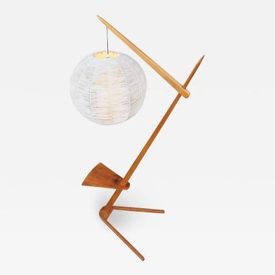 Teak Cantilever Floor Lamp w Table Rafia Wrapped Globe Shade