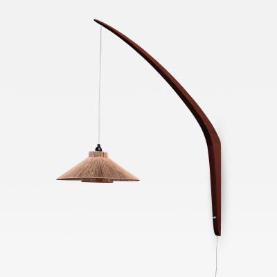 Teak boomerang wall lamp with rope shade 1950s