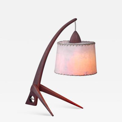 Teak table lamp with paper shade