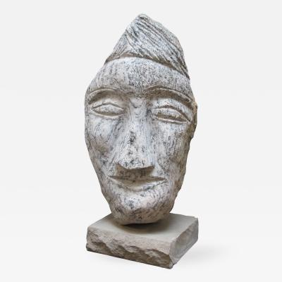 Ted Ludwiczak Carved Granite Stone Head by Ted Ludwiczak
